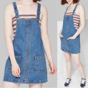 Wild Fable Denim Pinafore Overall Dress NWT Sz L